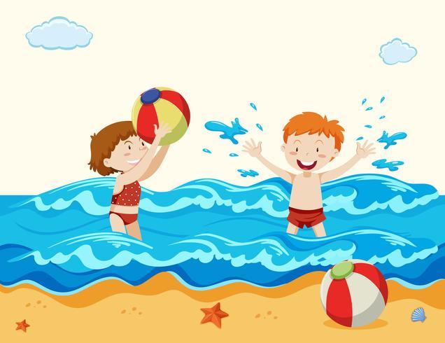 Ragazzo e ragazza che giocano in spiaggia vettore