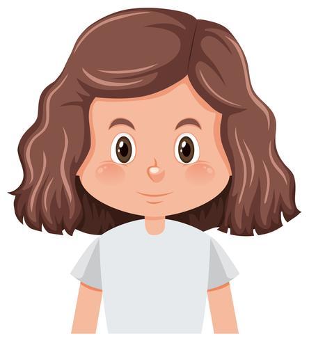 Un personaggio di ragazza bruna capelli ricci vettore