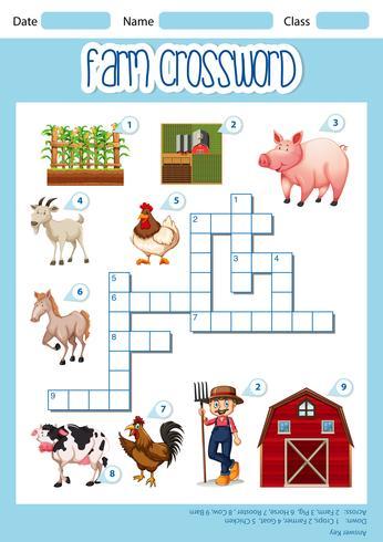 Un concetto di parole incrociate Farm vettore