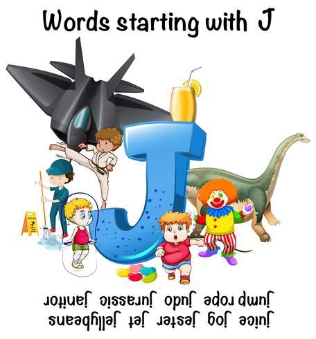 Design del poster per parole che iniziano con J vettore