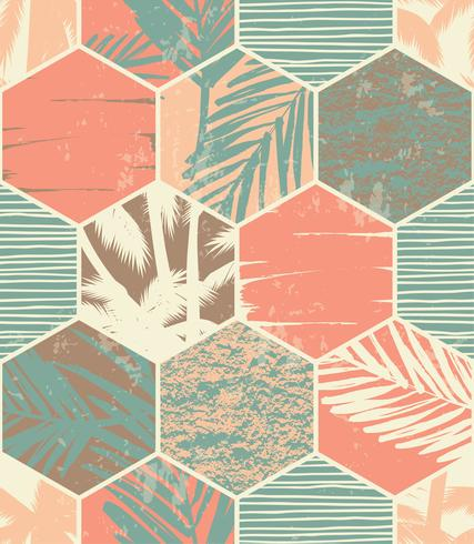Modello esotico senza cuciture con foglie di palma su fondo geometrico vettore