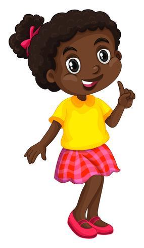 Ragazza afroamericana in camicia gialla vettore