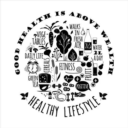 Illustrazione vettoriale stile di vita sano.