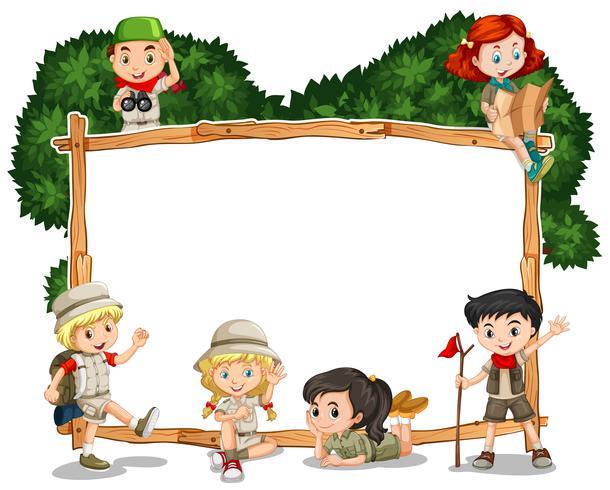 Modello di cornice con i bambini in abito da safari vettore