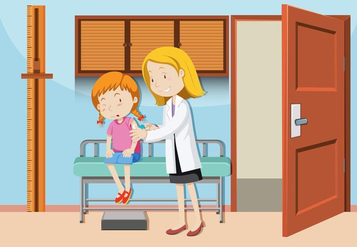 Una ragazza che ha un vaccino in ospedale vettore