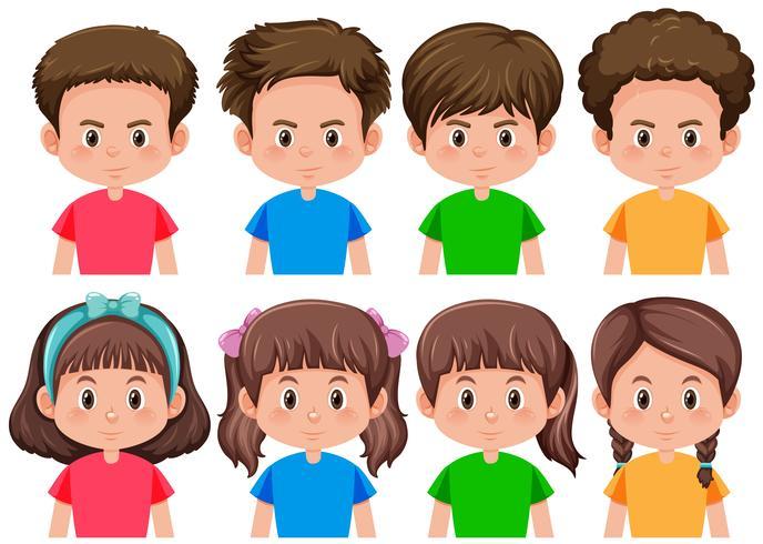 Set di carattere ragazzo e ragazza bruna vettore