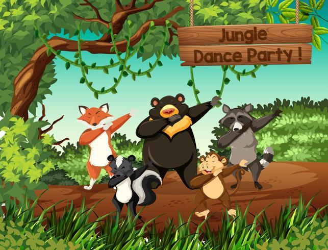 Festa di ballo nella giungla di animali selvaggi vettore