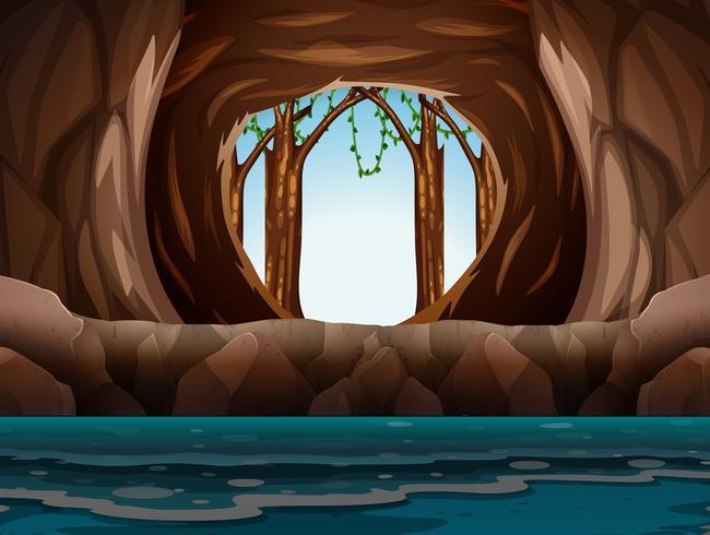 Grotta con ingresso e acqua vettore