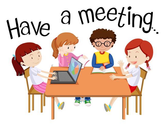 Wordcard per avere un incontro con le persone sul tavolo vettore