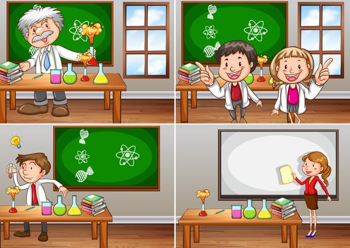 Aule di scienze con insegnanti vettore