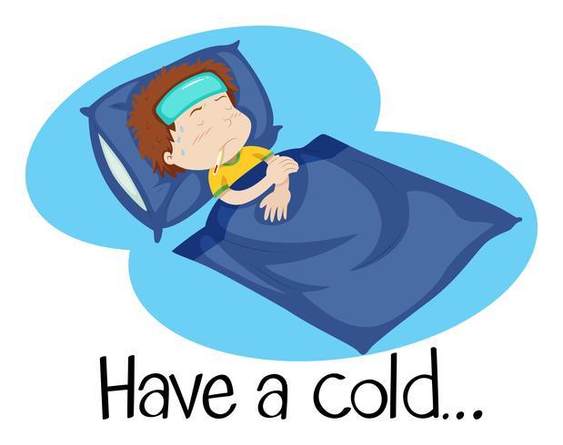 Un illustartion di un bambino con un raffreddore vettore