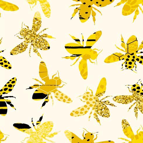 Modello geometrico senza cuciture con ape. Design moderno miele astratto. vettore