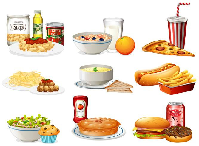 Un set di cibo americano vettore