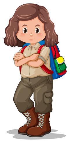 Un personaggio di ragazza scout bruna vettore