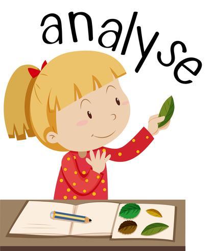 Flashcard per parola analizzare con ragazza guardando foglie vettore