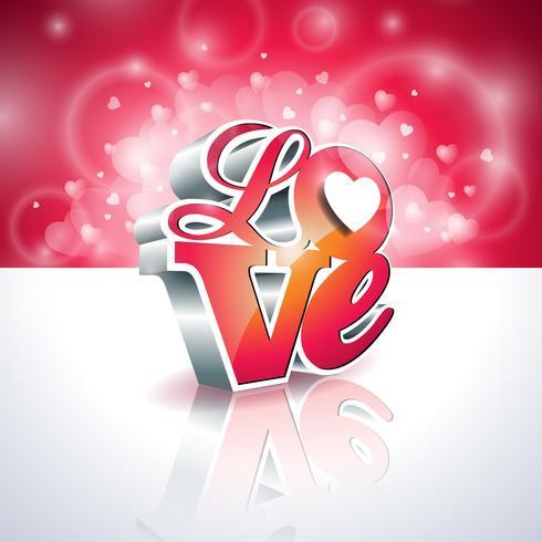 Illustrazione di giorno di biglietti di S. Valentino con progettazione di tipografia di amore 3d vettore