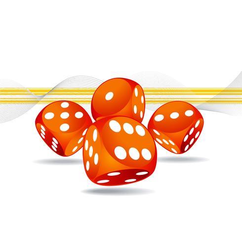 illustrazione di gioco con quattro dadi rossi vettore