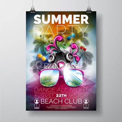 Vector Summer Beach Party Flyer Design con altoparlanti e occhiali da sole