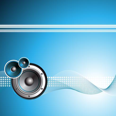 illustrazione vettoriale per tema musicale con altoparlante