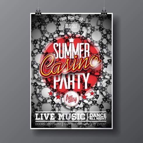 Summer Party Flyer design su un tema Casino con chip vettore