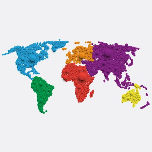 Mappa del mondo bianca fatta da palle, illustrazione vettoriale