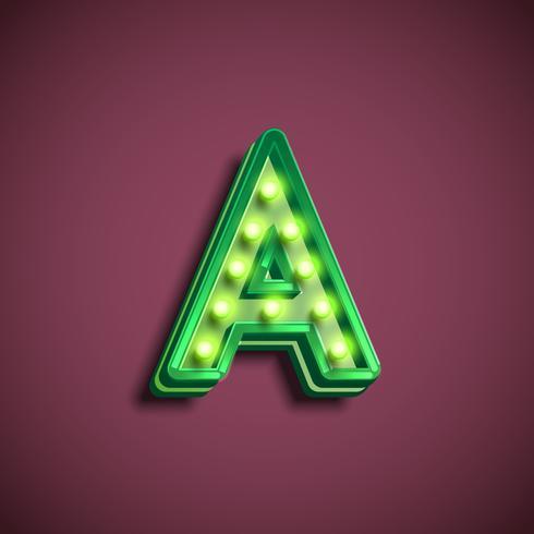 Carattere 'Broadway' con lampade da un fontset, illustrazione vettoriale