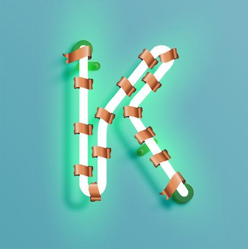 Carattere al neon da un fontset con pino decorazione di Natale, illustrazione vettoriale