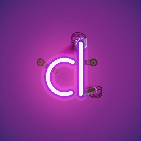 Carattere al neon realistico rosa con fili e console da un fontset, illustrazione vettoriale