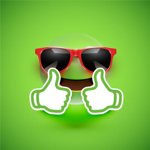 Emoticon realistico con occhiali da sole e pollici in su, illustrazione vettoriale