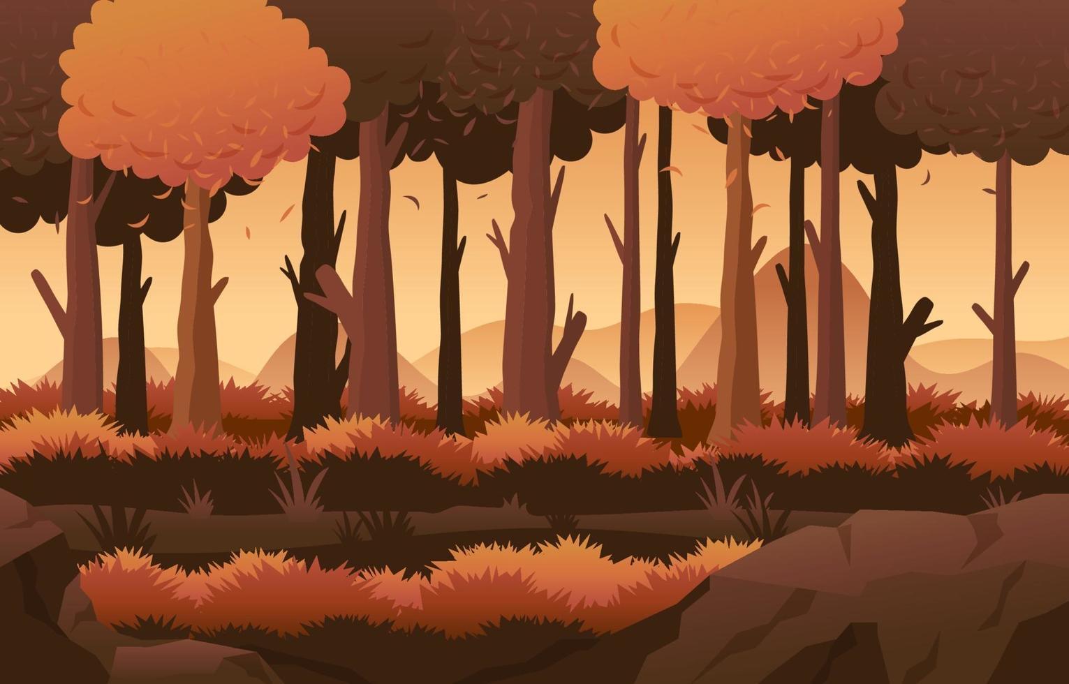 scenario di foresta autunnale con colori autunnali vettore