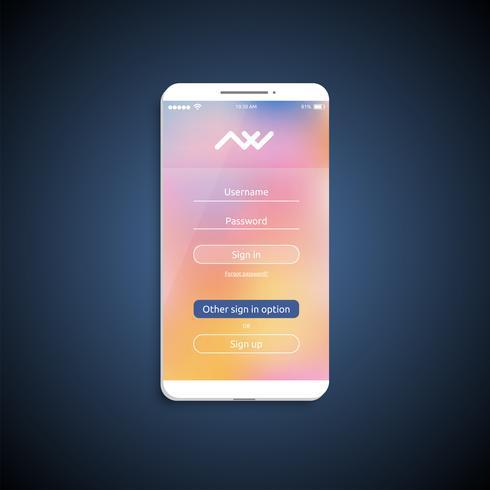 Superficie dell'interfaccia utente semplice e colorata per smartphone - schermata di login, illustrazione vettoriale