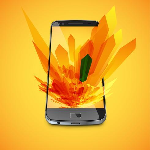 Fondo astratto giallo e uno smartphone realistico per affari, illustrazione vettoriale