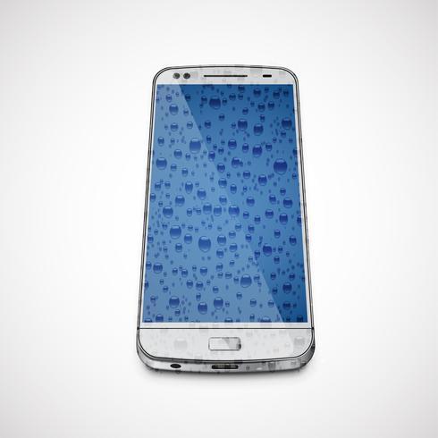 Cellulare bagnato realistico e alto-dettagliato, illustrazione di vettore