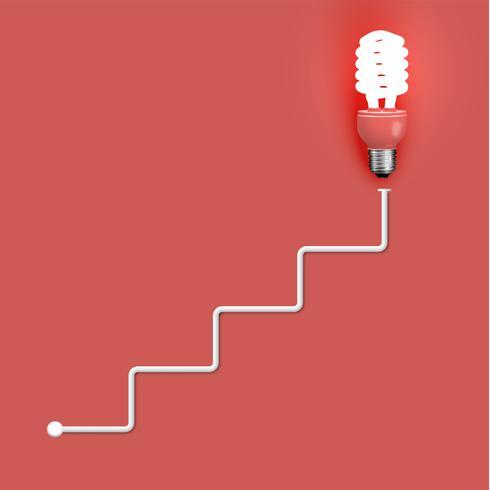 Lampadina del risparmiatore di energia con i cavi, illustrazione di vettore