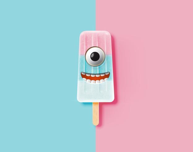 Emoticon divertente sull'illustrazione realistica del gelato, illustrazione di vettore