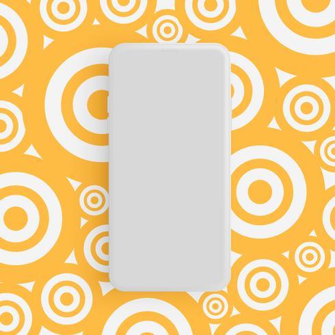 Realistico telefono grigio opaco con sfondo colorato, illustrazione vettoriale