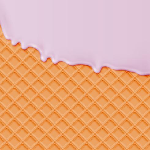 Waffle realistico con gelato pugno di fusione, illustrazione vettoriale