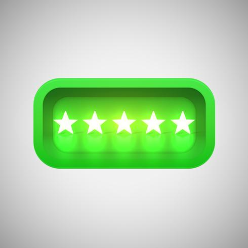 Valutazione di stelle verde d'ardore in una scatola brillante realistica, illustrazione di vettore