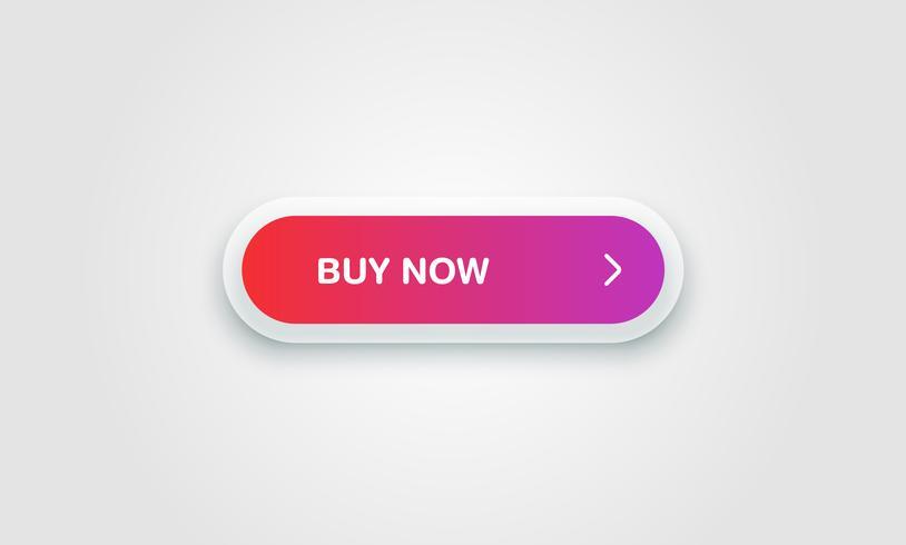 Pulsante lucido e pulito colorato per siti Web e utilizzo online, illustrazione vettoriale