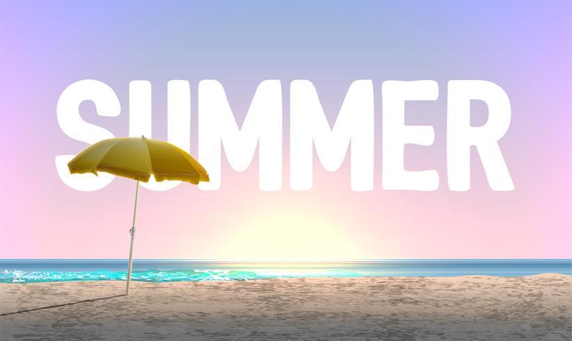 Spiaggia alta dettagliata al tramonto con 'ESTATE' in background, illustrazione vettoriale