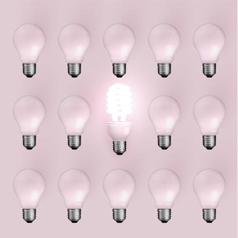 Lampadina del risparmiatore di energia fra quelli vecchi, illustrazione di vettore