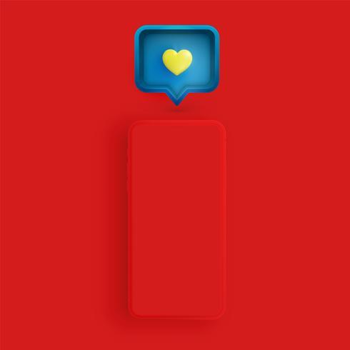Telefono opaco realistico con cuore 3D e fumetto, illustrazione vettoriale