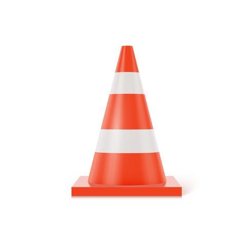 Cono di traffico 3d con le bande bianche ed arancio su fondo bianco, illustrazione realistica di vettore