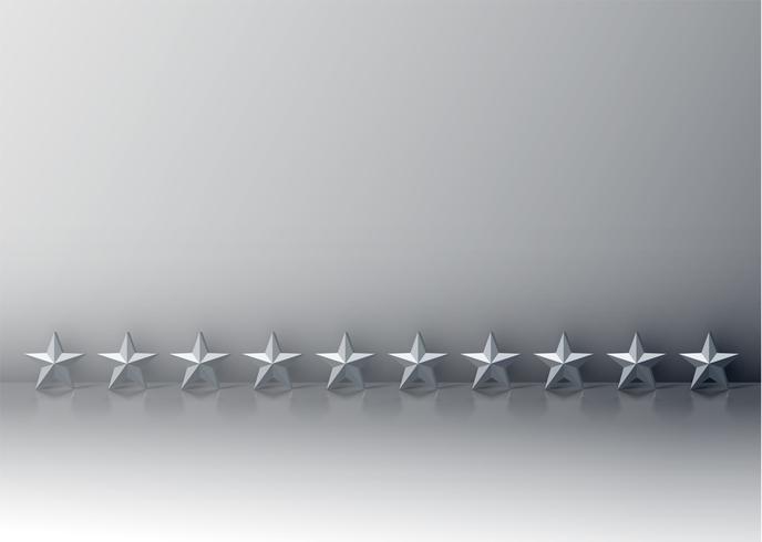 Dieci stelle grigio 3D su sfondo grigio, illustrazione vettoriale