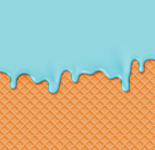 Waffle realistico con crema di fusione su di esso, illustrazione vettoriale