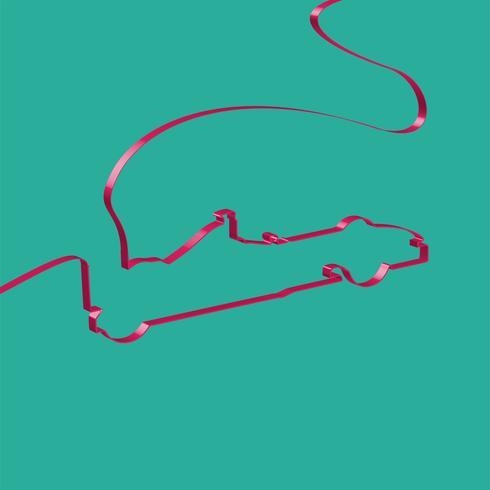 Il nastro variopinto modella un'automobile sportiva, vettore