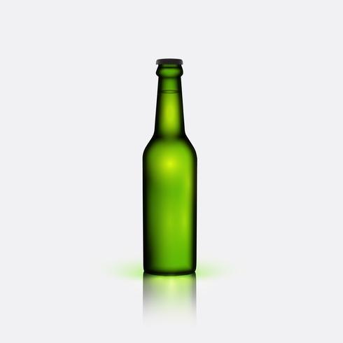 Bottiglia verde realistico di birra, illustrazione vettoriale