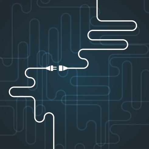 Bianco semplice 'connessione' illustrazione sul blu, vettore