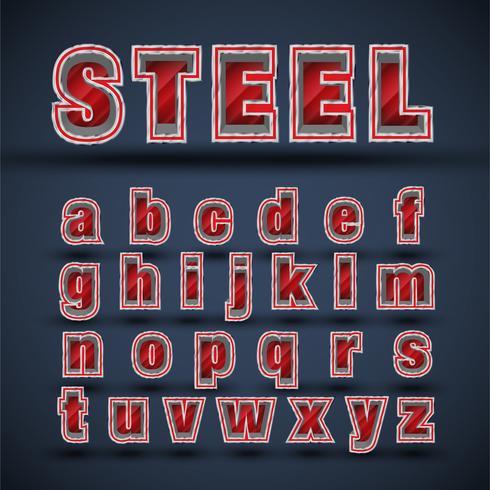 Insieme di caratteri d'acciaio rosso 3D, vettore