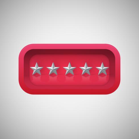 Valutazione di stella rossa d'ardore in una scatola brillante realistica, illustrazione di vettore